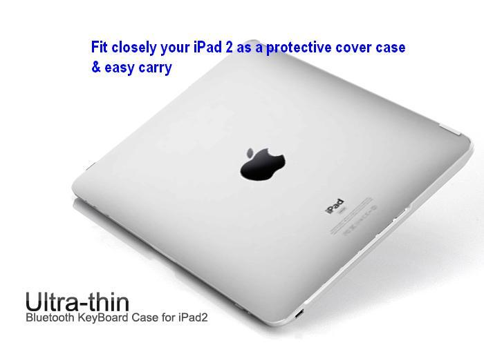 iPad 2 Ultra-thin Bluetooth Aluminium KeyBoard Protective Case for iPa