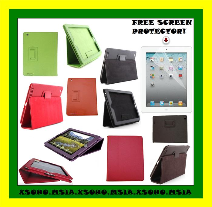iPad 2 WiFi 3G Leather Case Pouch Cover Stand *FREE PROTECTOR*AUTO ON ..