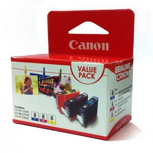 IPG. CANON INK CARTRIDGE CLI-8 FINE COLOR VALUE PACK 300 PAGES X3