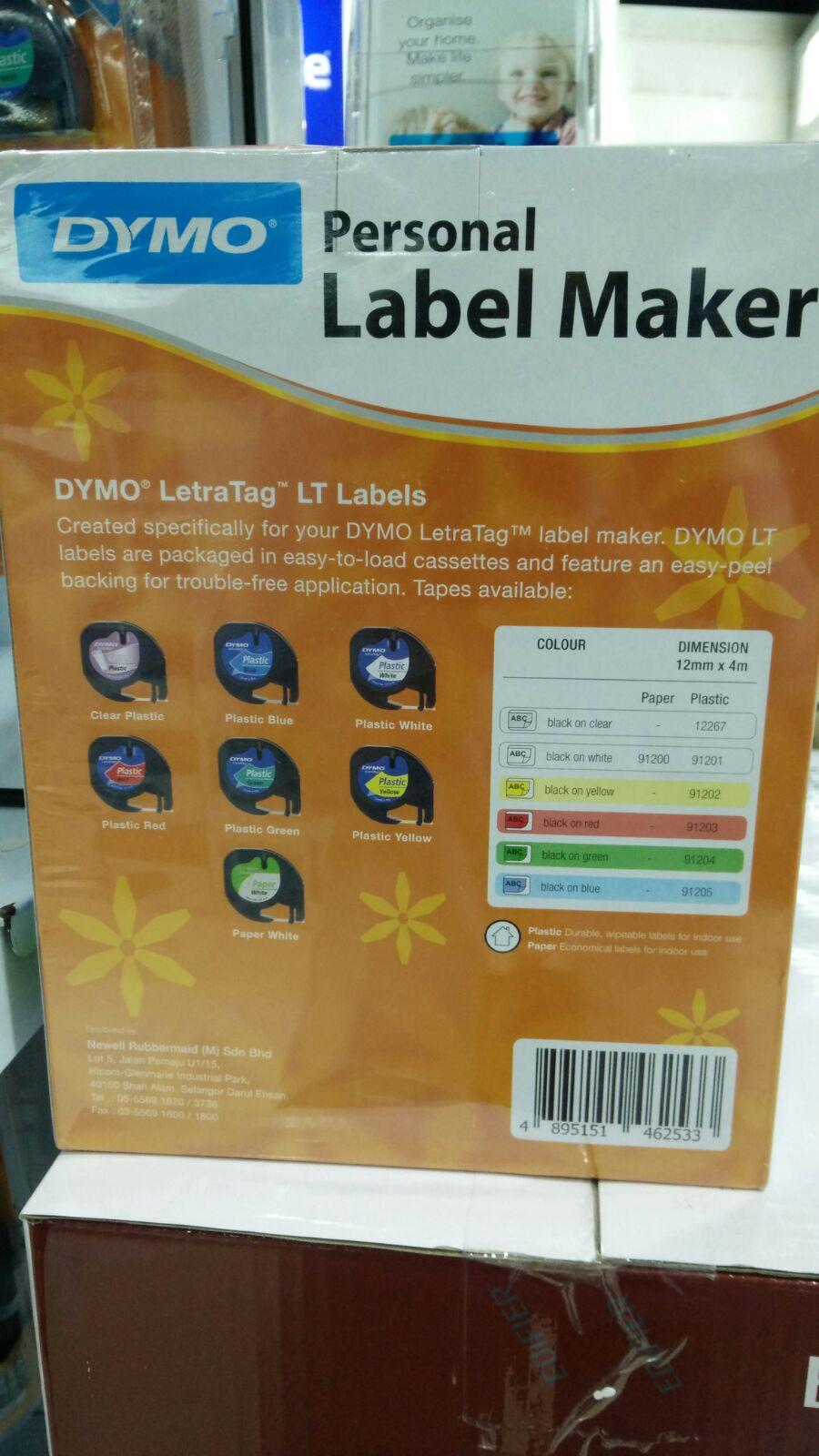 IPG. DYMO LETRATAG LABELER MAKER LT-100H BLK+2 PAPER WHT&1 PLASTIC YLW