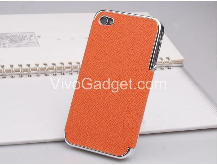 iPhone 4/4s - Hard Case Cover Skin with Silver Edge (Orange)