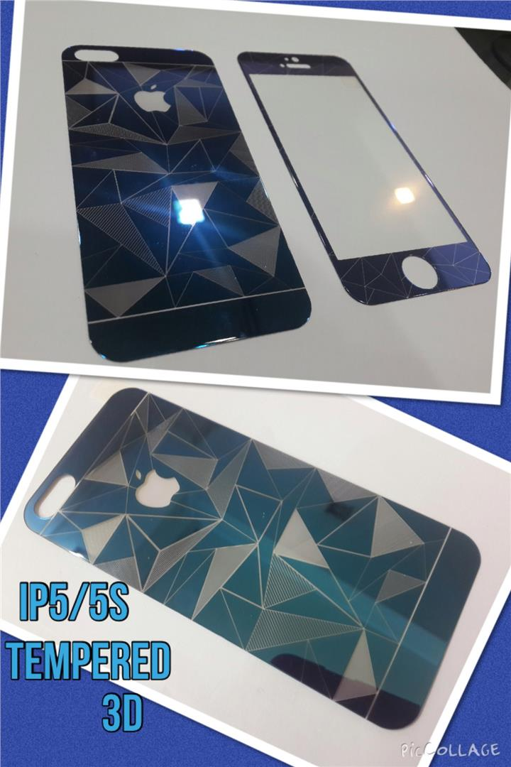 Iphone 5/5S 3D Tempered Glass Front & Back BLUE.