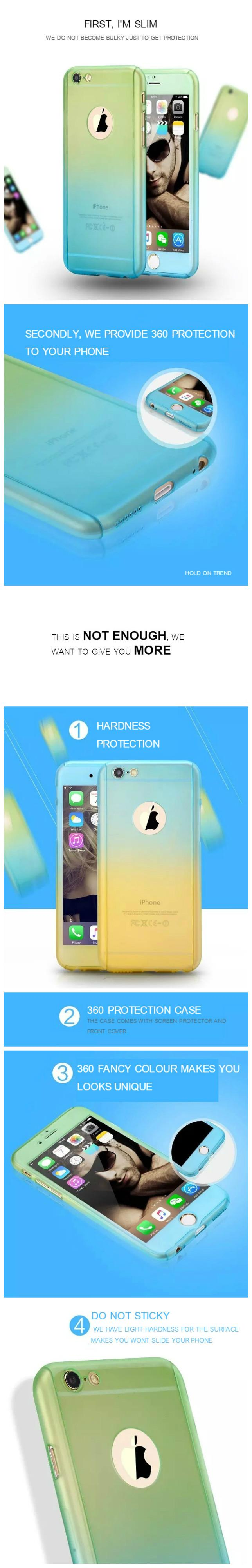 Iphone 5/5s/ SE 6/6s 6+/6s+ 360 Korean Colorful Protection Case