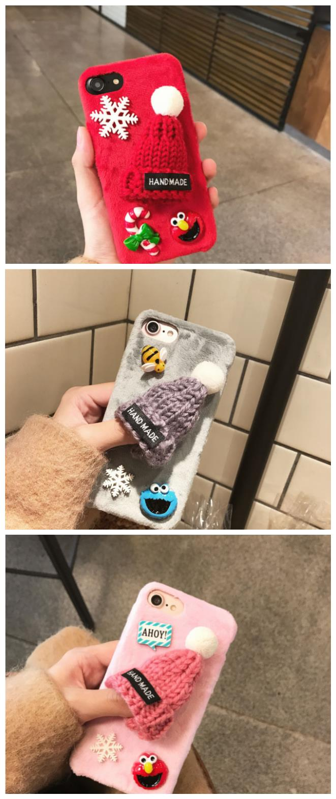 iPhone 6/6s/7 4.7'',6Plus/6sPlus/7Plus5.5'' Christmas knitted hat Case