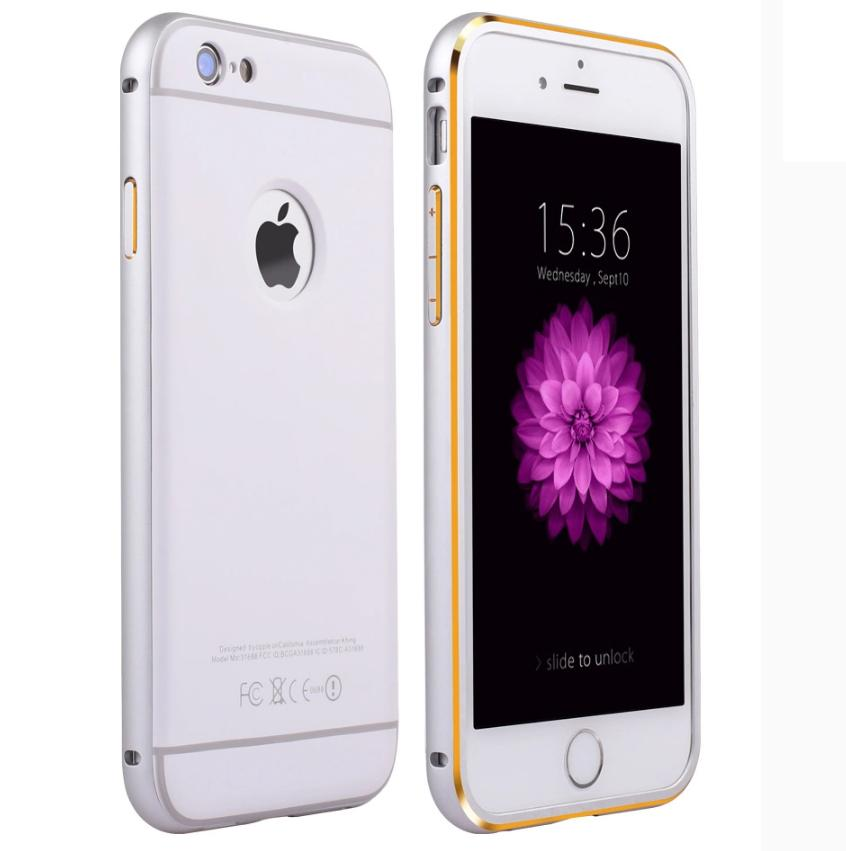 iPhone 6 Plus Luxury Metal Bumper + PC Back Cover Case - White