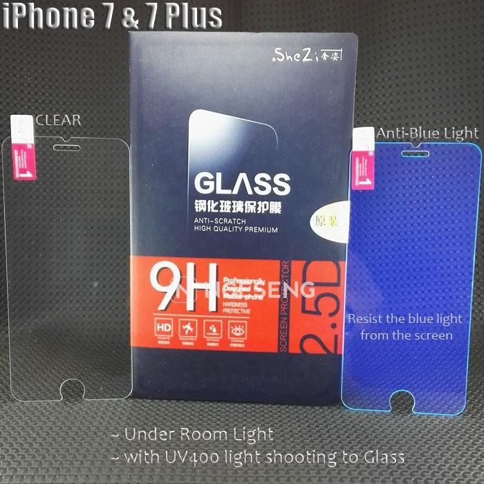 iPhone 7 7+ i7 plus i7+ tempered glass 2.5d 9h soft case bumper shezi