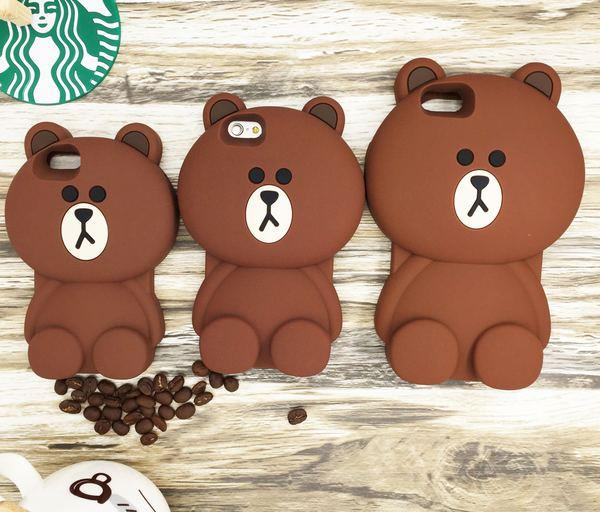 IPhone Line Brown Bear silicone protective sleeve