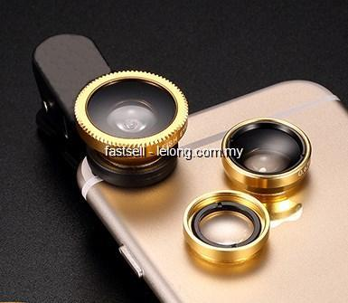 Iphone Samsung Clip On Zoom Lens 3 in 1 Fish Eye Macro Wide Angle