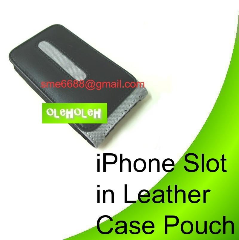 iPhone Slot in Leather Case Pouch