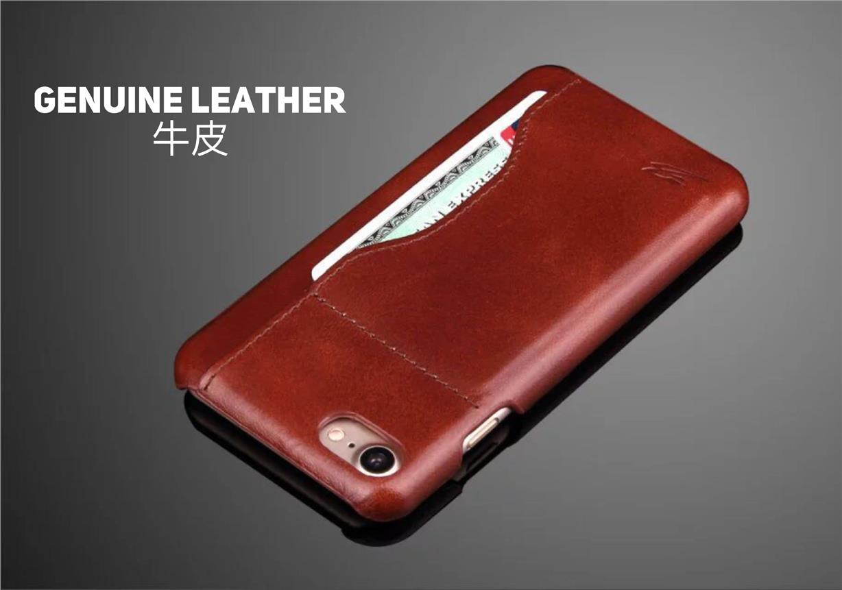 iPhones 7/7 plus phone casing with card slot genuine leather