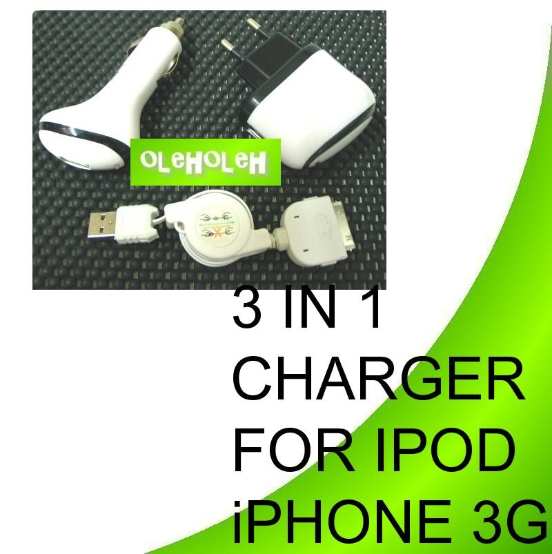 iPod Apple 3 in 1 charger For 2G 3G 3Gs Nano Ipod Shuffle