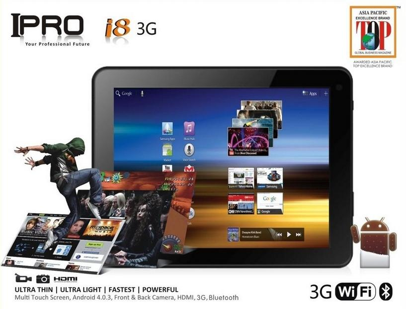 IPRO i8 3G 8 inch LCD TouchScreen / 1.5GHz / Dual Camera / Andriod 4.0..