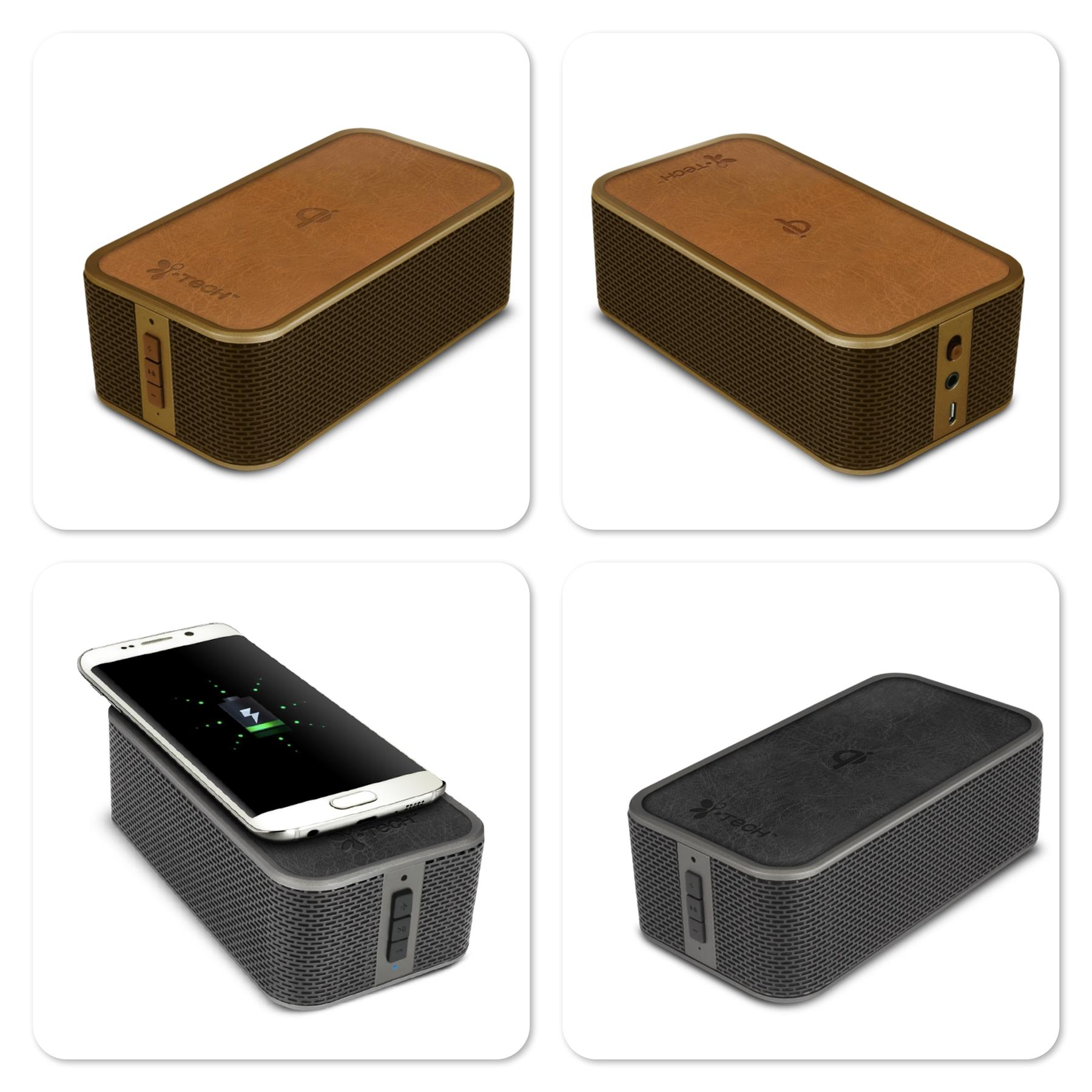 iTech PowerBrick Bluetooth Wireless Speaker with QI Wireless Charger