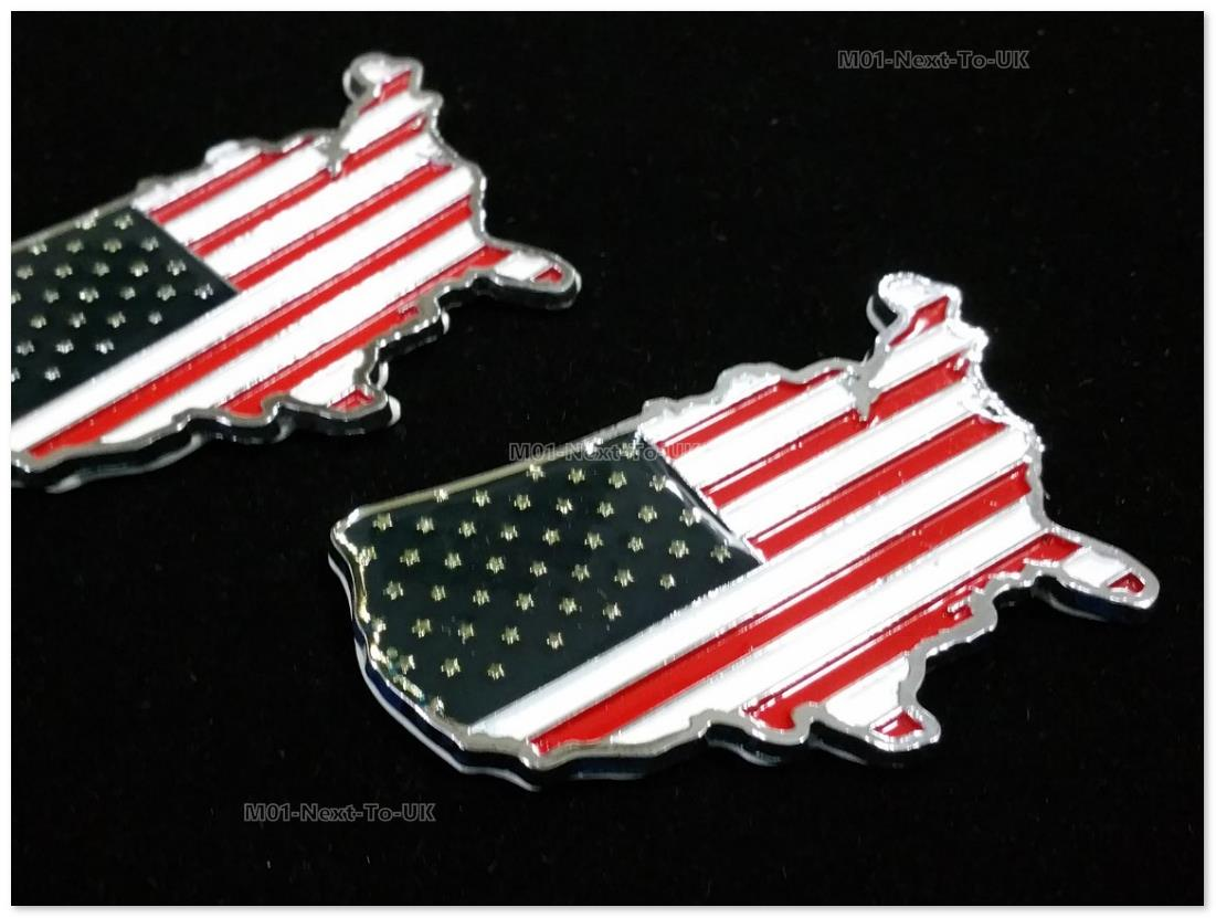 [IYJ-TFD] 2 Piece Usa Hq Flag Metal Chrome Badge United States Union