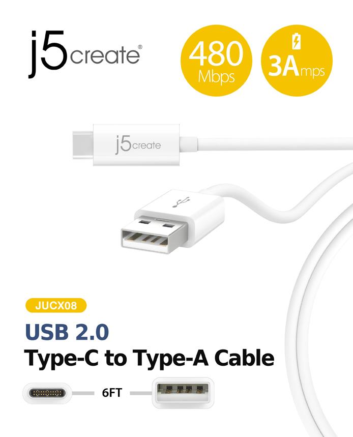 j5 create USB 2.0 Type-C to Type-A Cable