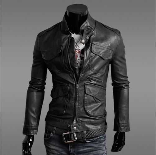 Jacket Hot  Pocket Design Slim Cut Leather Coat Black