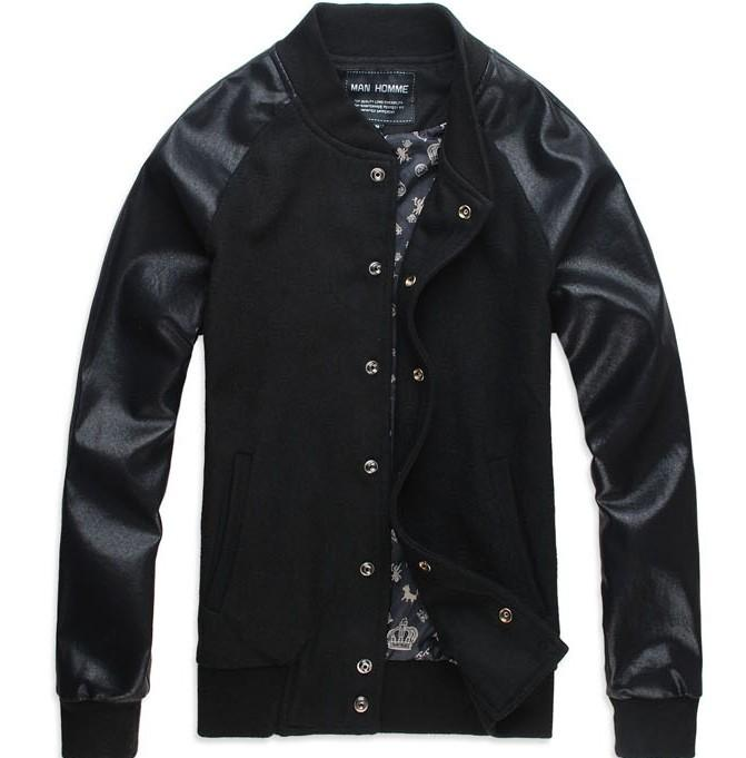 Jacket Korean Slim Matching Leather Design Jacket Black