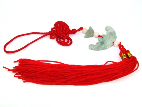 Jade Feng Shui Bat Biting Coin Tassels for Good Fortune