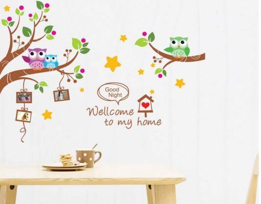 JadeGourd Bedroom Living Room Kitchen Home Cute Owl Wall Sticker W6090
