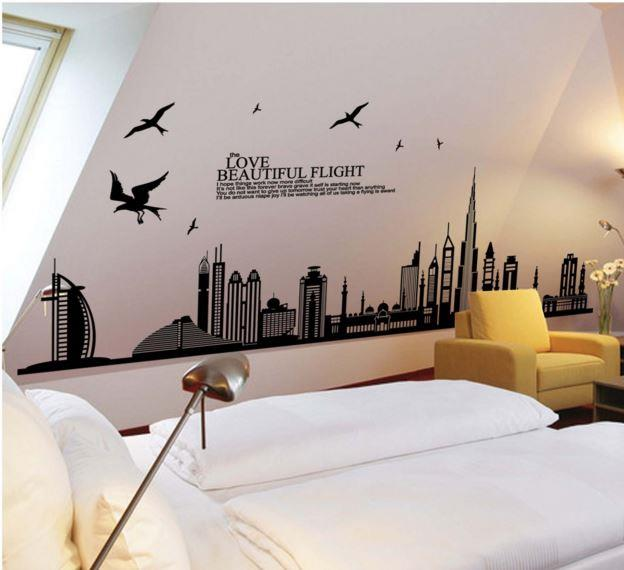 JadeGourd Love Beautiful Flight Cityscape Wall Sticker W6094