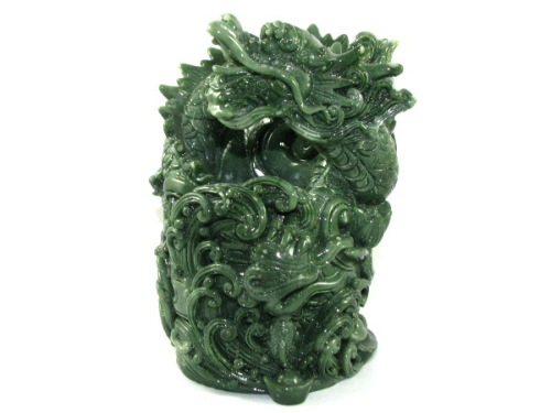 Jadeite Dragon Pen Holder for Good Fortune