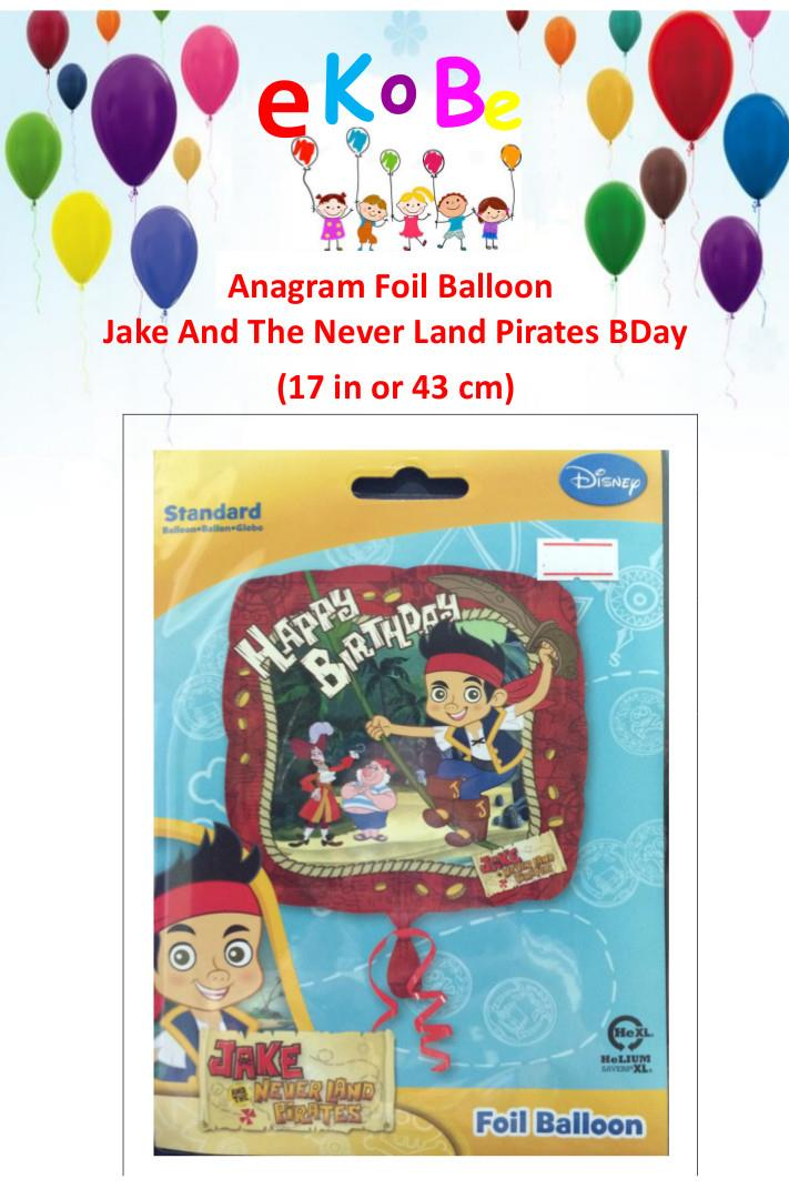 Jake & Never Land Pirate Happy Birthday Foil Balloon 17', 43cm Anagram