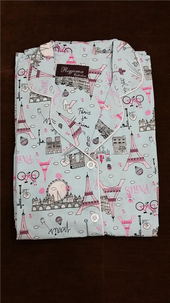 Japanese Cotton Plus Size Pyjamas Paris Print