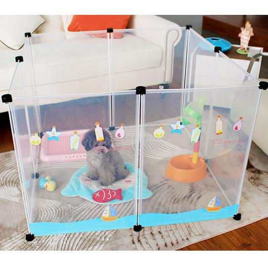 Japanese Style Transparent Pet Fence Pet Playpen Cage