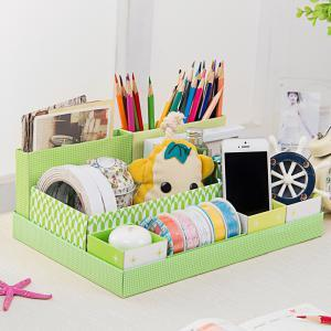 Jaron DIY Seven Plaid Table Storage Box (Green)