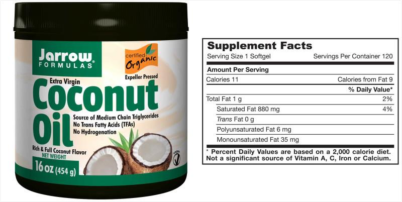 Jarrow Formulas, Organic Virgin Coconut Oil (454 g)