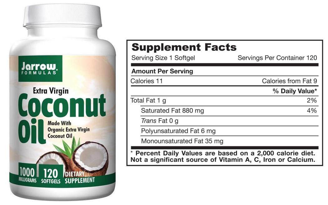 Jarrow Formulas,Virgin Coconut Oil, 1000mg (120 Softgels)