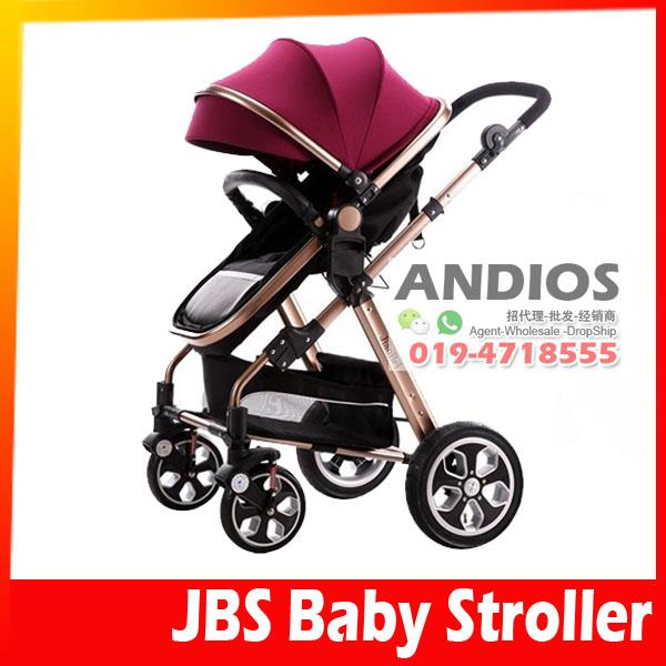 JBS Multiposition Comfort Basket Baby Stroller w/Cup Tray Mum Shopping