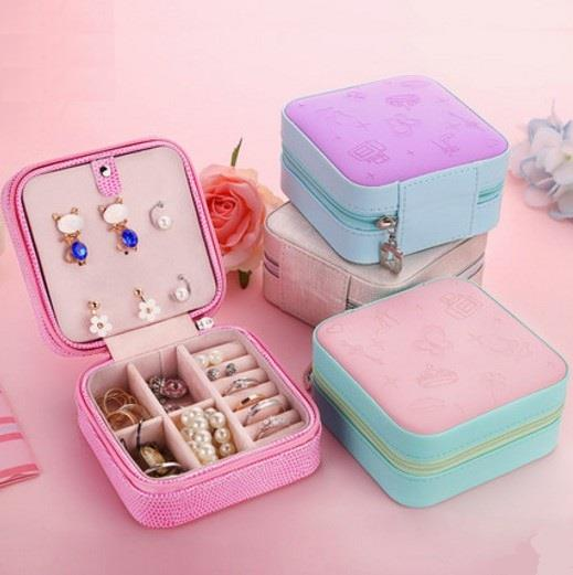 Jewellery Case Display Storage Box Portable Zip Type 3D Surface