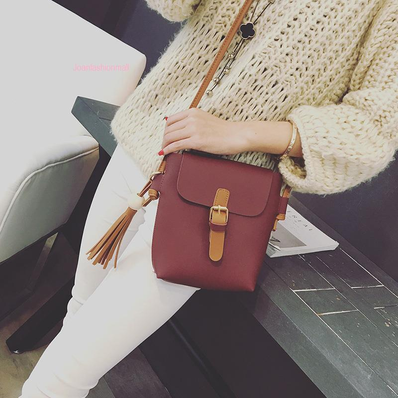 [Joanfm] Soft Leather Pouch Mini Travel Casual Sling Bag
