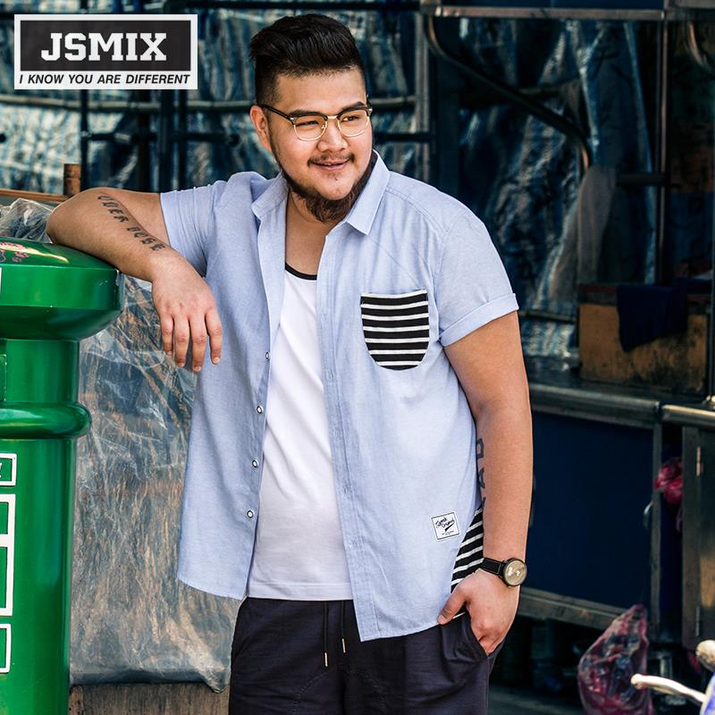 JSMIX Men's Plus Size Cotton Short Sleeve Casual Shirt 62C0112