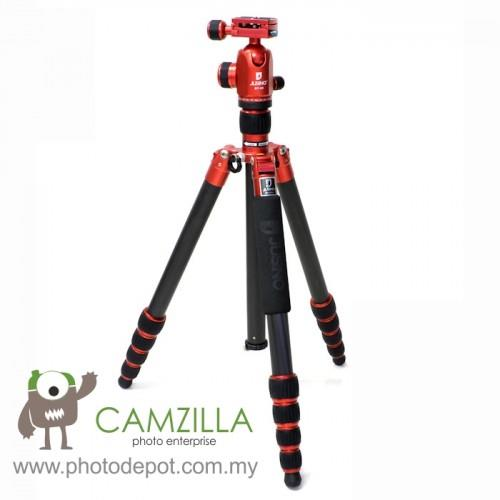 Jusino AX-255 Ruby Red Professional Traveller Series 5-Sections Tripod