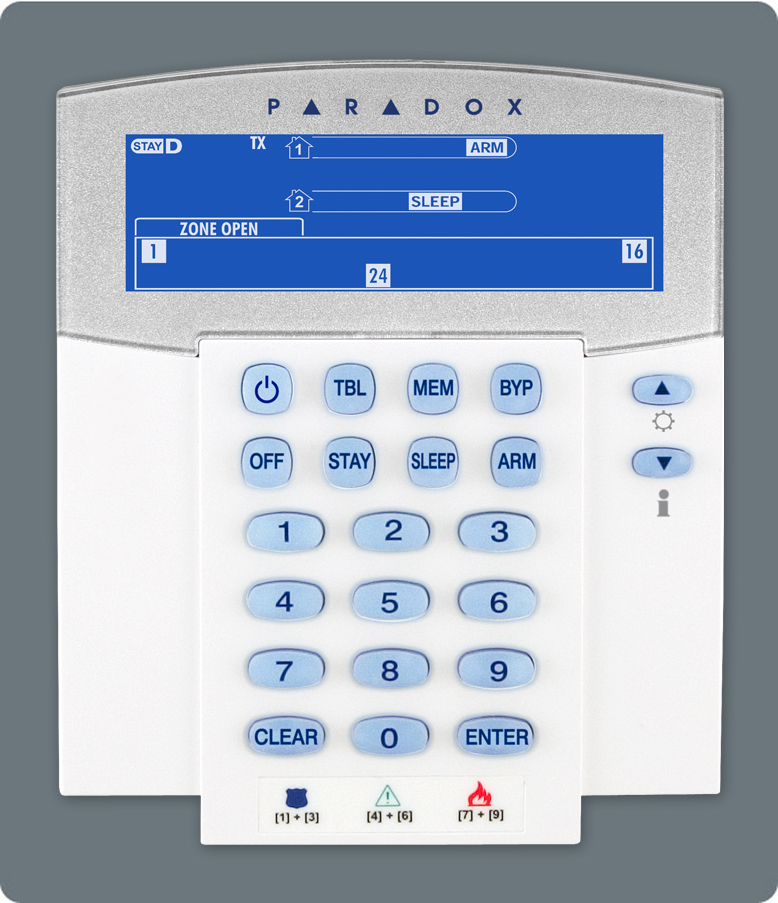 K37 Paradox 32-Zone Wireless Fixed LCD Keypad