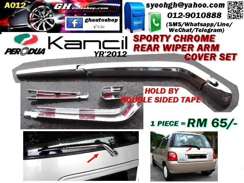 KANCIL YR'2012 SPORTY CHROME REAR WIPER ARM COVER SET A012