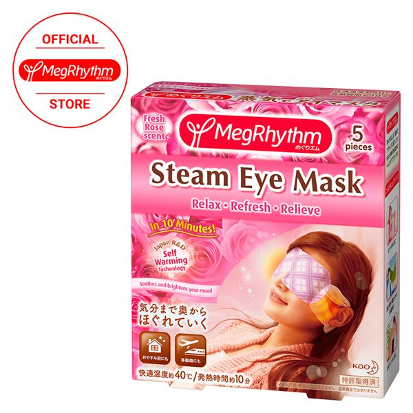 Kao MegRhythm Steam Eye Mask Fresh Rose Aroma 5Pcs