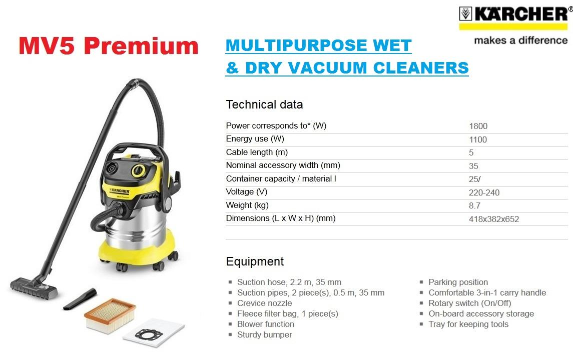 Karcher  Multipurpose Wet & Dry Vacuum Cleaner MV5 Premium