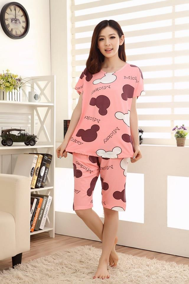 Kawaii Mickey Head Short Sleeve Sleepwear Set (Pink)