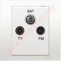 KB33SMATV Vivace 1 Gang TV-FM-SAT Socket Outlet without Looping
