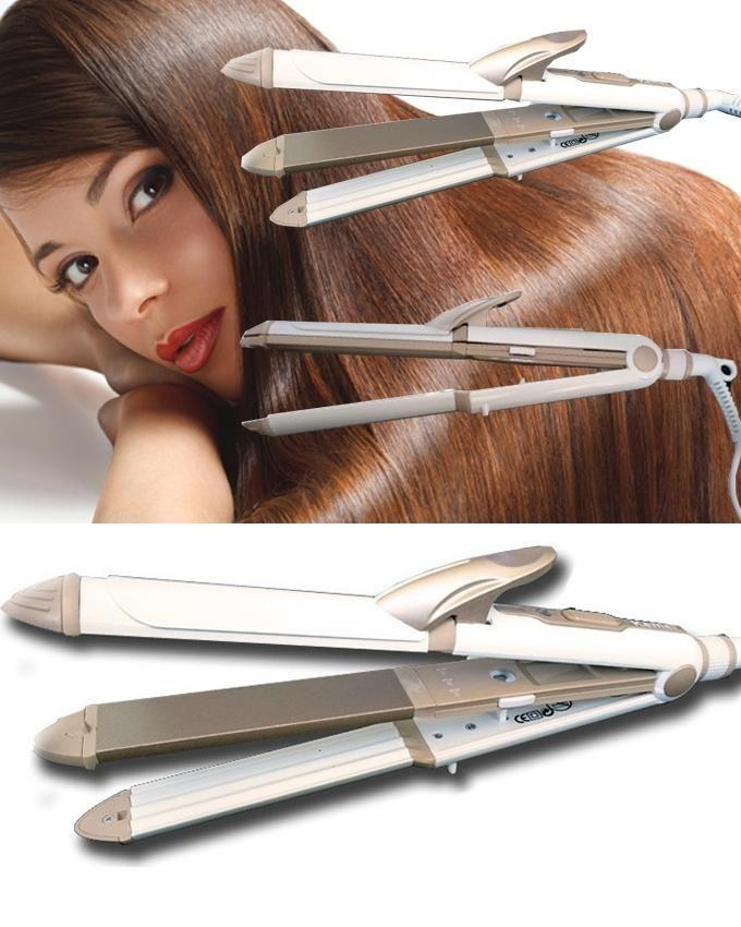 Kemei 3 in 1 Hair Iron Straightener/Curl/Waffle