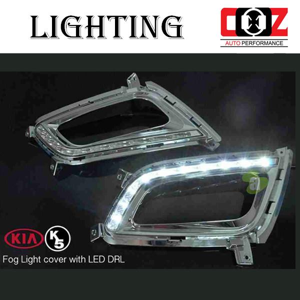 Kia Optima K5 2011-2013 Fog Lamp Cover With LED Daylight DRL + Auto On