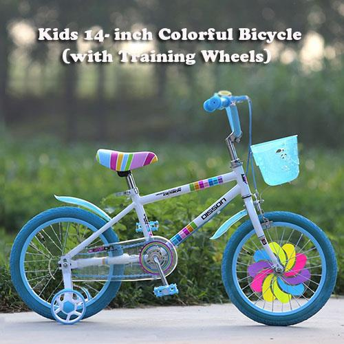 Kids 14-Inch Colorful Bicycle/Bike (with Training Wheels)