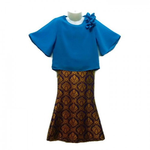 Kids Baju Raya Chiffon + Songket Skirt (Blue)- Ages 3Y to 14Y)