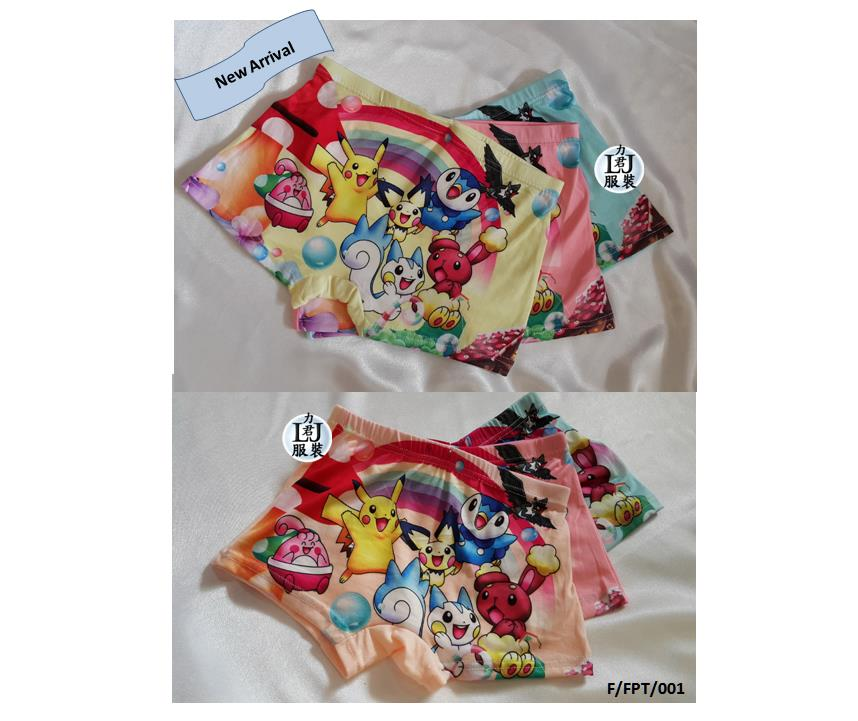 Kids Children Girls Female 3pcs. Panties Underwear, Undies(Pokemon Go)