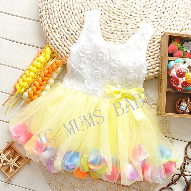 Kids Dress - Yellow Skirt with Flower