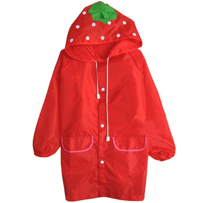 Kids Outdoor Cute Funny Raincoat (Red Strawberry)