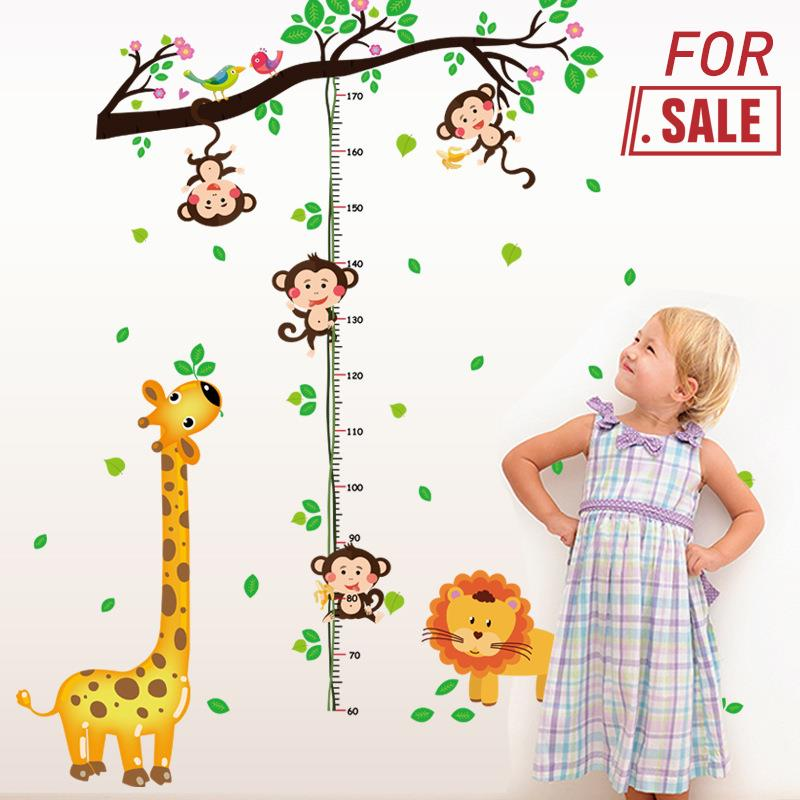 Kids Room Animals Mural Height Measurement Wall Sticker